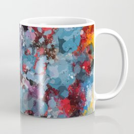 Abstract Art Dripping Composition in yellow and red Coffee Mug