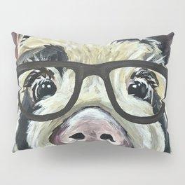 Pig with Glasses, Cute Farm Art Pillow Sham