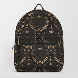 Persian Oriental Pattern - Black Leather and gold Backpack