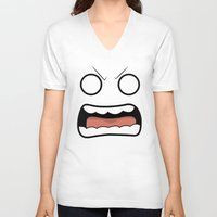 scary V-neck T-shirts featuring Scary Face by Tombst0ne