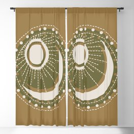 Moonlit Love - Mid Century Modern Gold Blackout Curtain