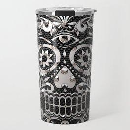 Skull 04,black silver metal art Travel Mug