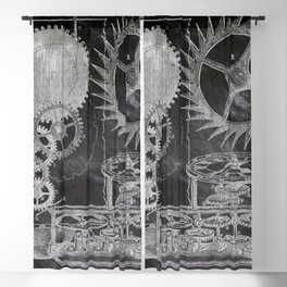 black and white vintage patent print chalkboard steampunk clock gear Blackout Curtain