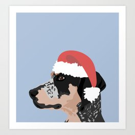 Coonhound Santa Hat Art Print