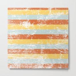 Warm Summer Distressed Stripey Pattern Design Metal Print
