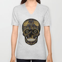 Skull Yellow | Tessellating Skulls Pattern | M. C. Escher Inspired Geometric Artwork by Tessellation Unisex V-Neck