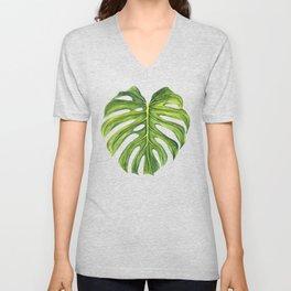 Tropical Monstera Leaf Pattern Unisex V-Neck
