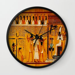Book of the Dead - Last Judgement of Hu-Nefer - Thebes - Egypt - ca. 1290-1280 BCE - New Kingdom - Dynasty XIX - Ancient Egyptian Text with Spells, Prayers, and Incantations - Amazing Oil painting - Wall Clock