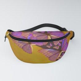 Shiny Purple Butterflies On A Ocher Color Background #decor #society6 Fanny Pack