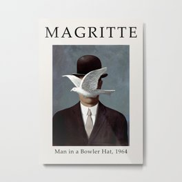 Rene Magritte - Man in a Bowler Hat, 1964 - Exhibition Poster, Art Poster - Wall Art Decor Metal Print