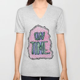 """On Time"" by RenPenCreations Unisex V-Neck"