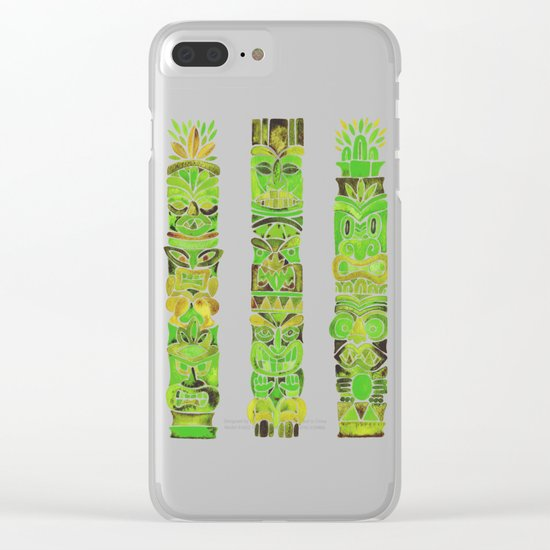 Tiki Totems – Green Clear iPhone Case