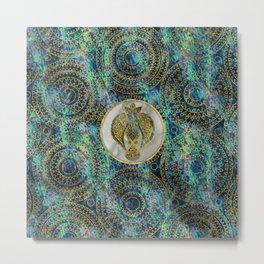 Gold Tribal Bird on Boho Abalone Pattern Metal Print