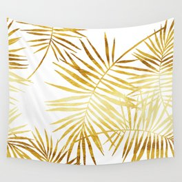 Tropical Palm Fronds in Gold Wall Tapestry