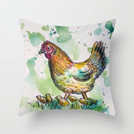 Momma & Chicks Throw Pillow
