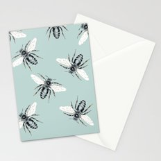 bees on blue Stationery Cards