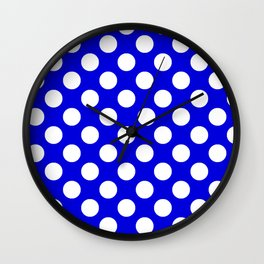 Royal Blue With Large White Polka Dots Wall Clock