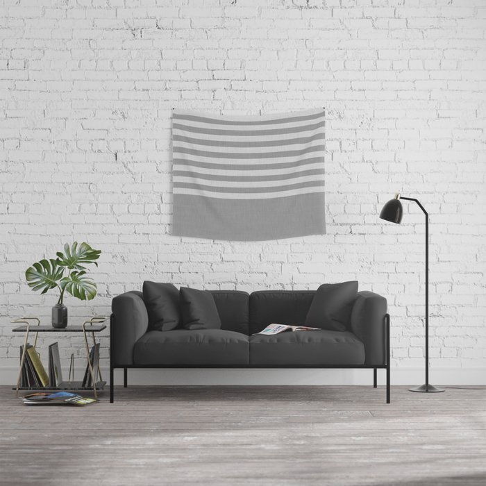 Gray color block and stripes Wall Tapestry