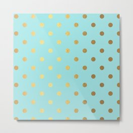Gold polka dots on aqua background - Luxury turquoise pattern Metal Print