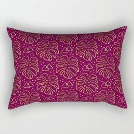 Gold Monstera on Purple Rectangular Pillow