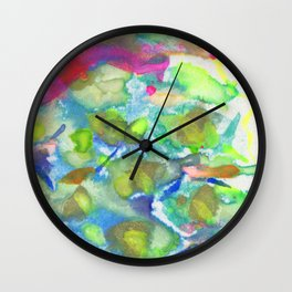 Snakeskin at Spring - neon color abstract painting in mineral pigments Wall Clock
