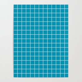 Bondi blue - blue color - White Lines Grid Pattern Poster