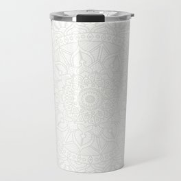 Cream on White Mandala Circle of Life Travel Mug