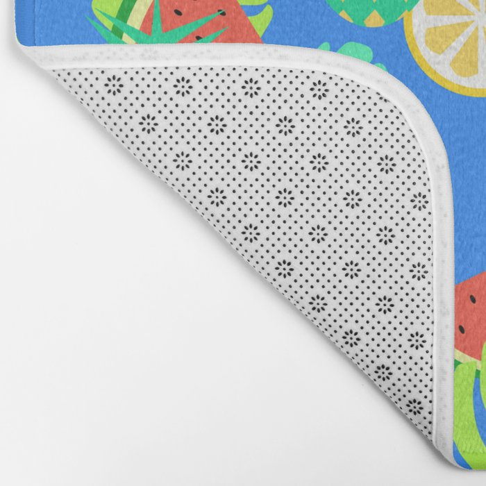 Watermelons and pineapples in blue Bath Mat