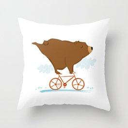 Biking Bear Throw Pillow
