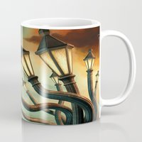 drunk Mugs featuring Drunk Streetlamps by Remus Brailoiu