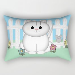 White Cat Rectangular Pillow