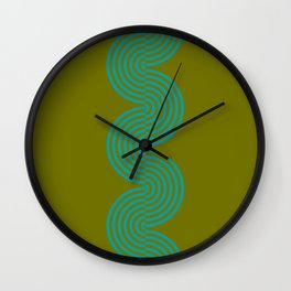 groovy minimalist pattern aqua waves on olive Wall Clock