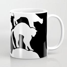 Cat Silhouette Black and White Coffee Mug