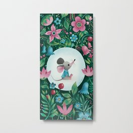 Mouse Amongst The Flowers Metal Print