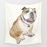bulldog Wall Tapestries featuring bulldog  by Laura Graves