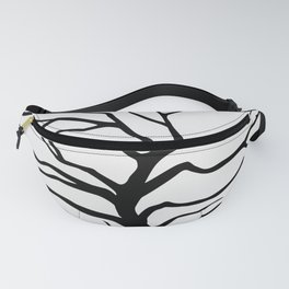 black silhouette of the willow tree without leaves Fanny Pack