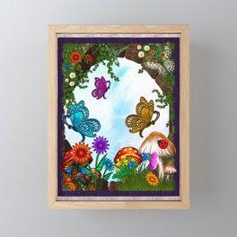 Spring Gardens Whimsical Folk Art Framed Mini Art Print
