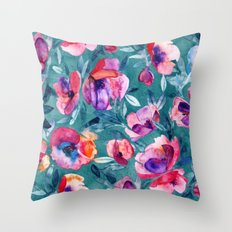 Flourish - a watercolor floral in pink and teal Throw Pillow