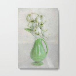 White Flower Green Vase Metal Print