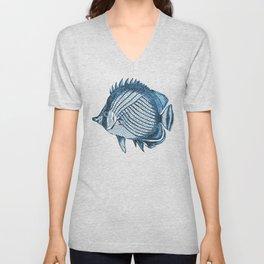Fish coastal ocean blue watercolor Unisex V-Neck