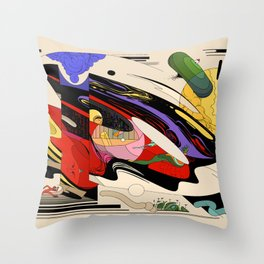 SpaceCar Throw Pillow