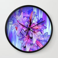lily Wall Clocks featuring Lily by Saundra Myles