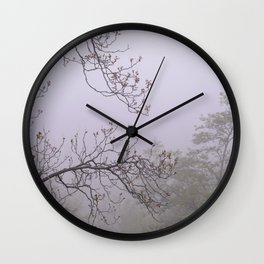 Mountain trees. Into the foggy woods Wall Clock