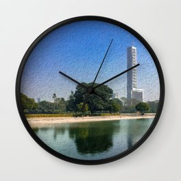 Kolkata Skyline Reflection - Paintography  Wall Clock