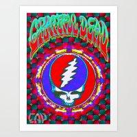 grateful dead Art Prints featuring Grateful Dead #10 Optical Illusion Psychedelic Design by CAP Artwork & Design