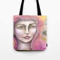 charmaine olivia Tote Bags featuring Olivia by Art by Sandy & Mariah Gonyea