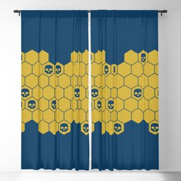 Honey Skulls - Blue Blackout Curtain