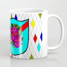 A Stained Glass Shield with Roses and Red Ribbon Coffee Mug