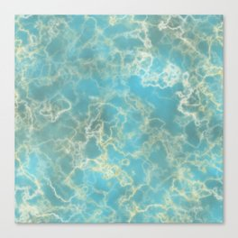 Marble Water Lights - Blue Canvas Print