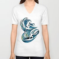 surfing V-neck T-shirts featuring Surfing by A Laidig